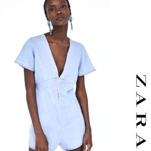 New📍Zara Light Chambray Playsuit Button Romper